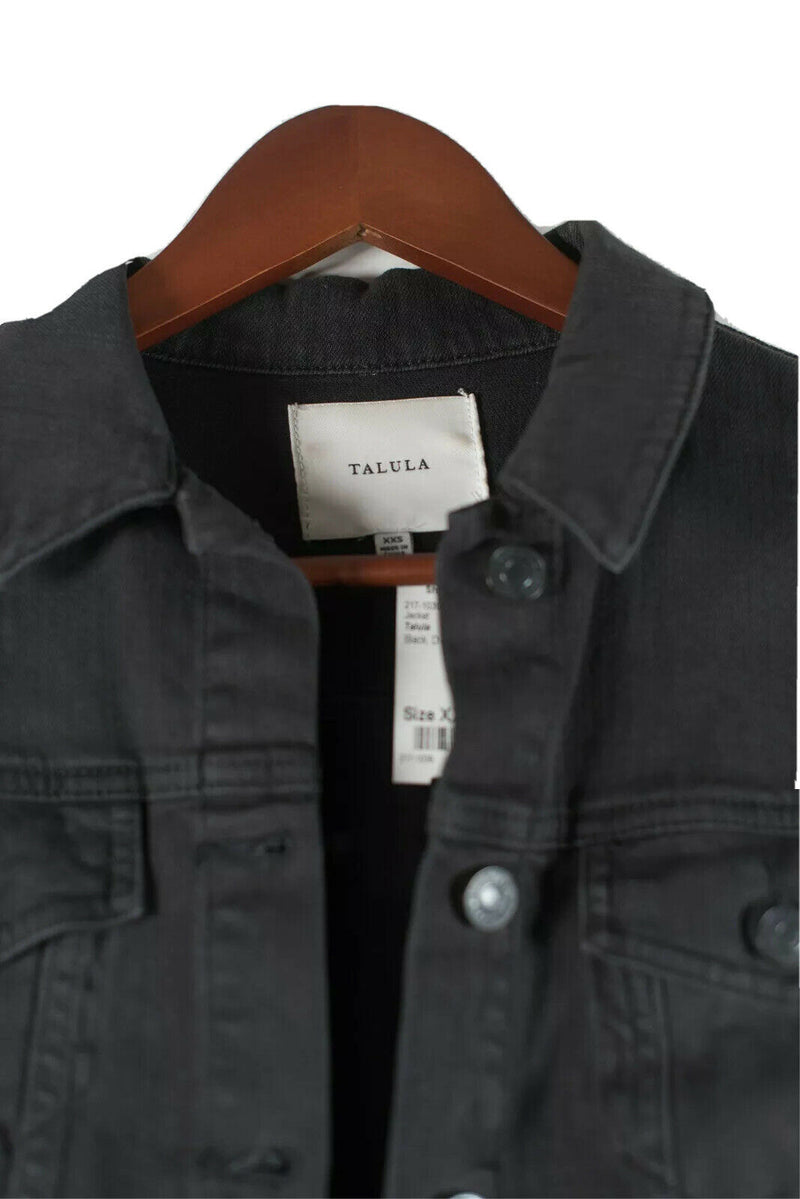Aritzia Talula Womens XXS Black Jean Jacket EDO Dark Denim Button Up Cropped