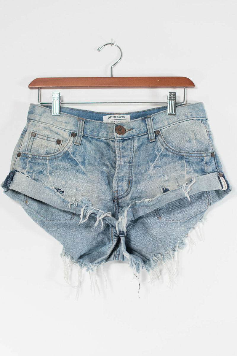 One Teaspoon Women Size 25 Blue Jean Shorts Distressed Frayed Pockets Cutoff