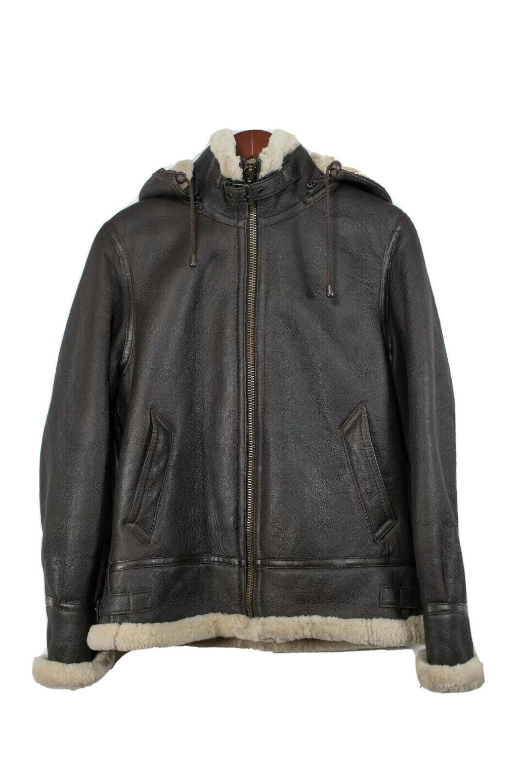 A&S Selections Men's Small Brown Shearling Leather Aviator Jacket