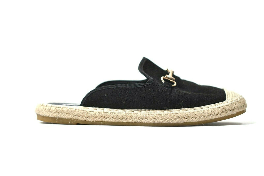 Steve Madden Womens 37 Black Slides Horse Bit Buckle Slip On Canvas Nevann Mules