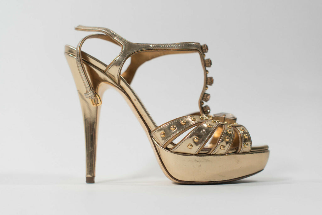 Miu Miu Size 37 Gold Studded Sandals