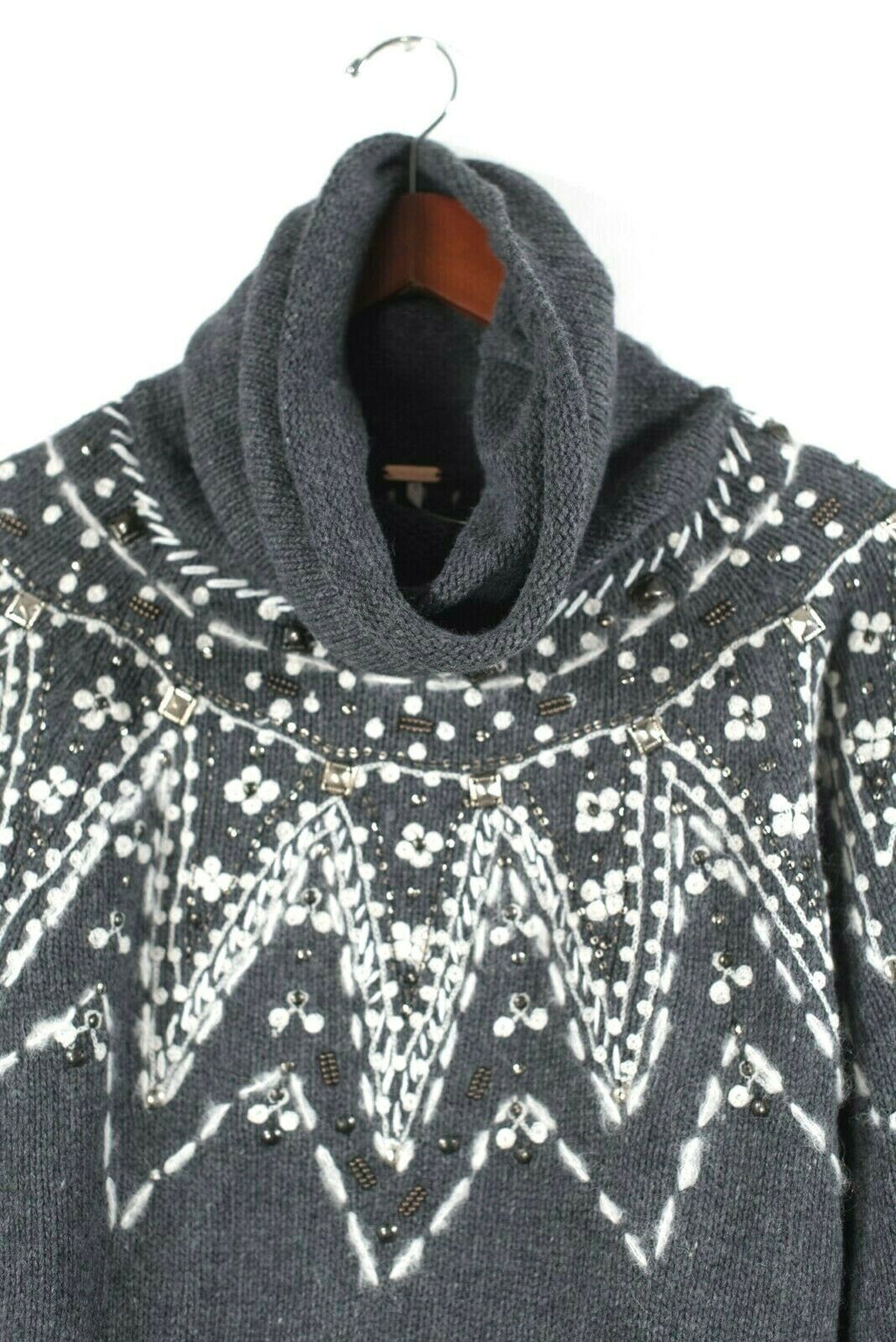 Free People Womens Small Gray Pullover Sweater Nordic Fair Isle Cowl Neck $165