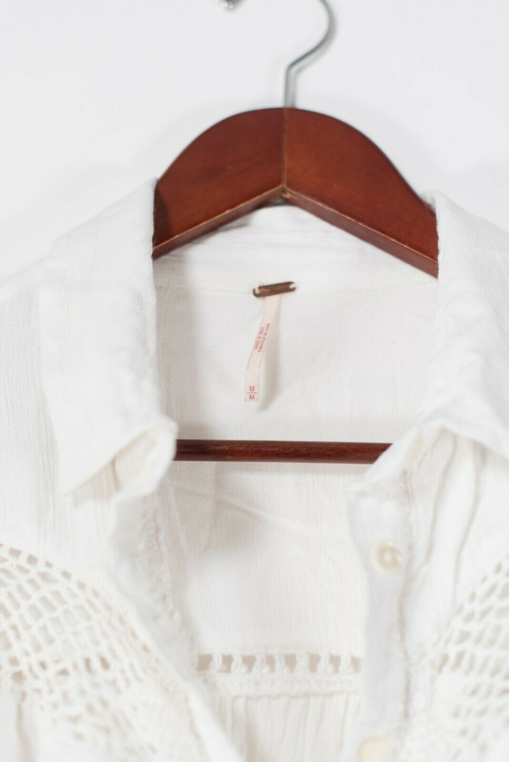 Free People Women's Medium White Blouse Crochet Button Front Shirt Collared Top