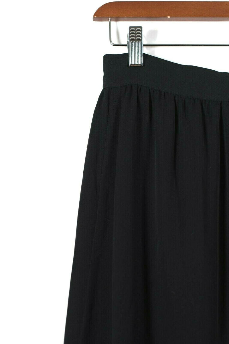 Rebecca Minkoff Womens Size 6 Small Black Skirt Nora Silk Ruffle Trim Wrap Midi