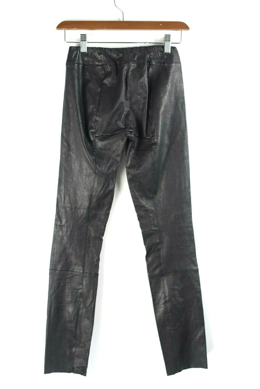 The Row Womens Size XS Black Pants Skinny Moto Stretch Leather Leggings $1,950