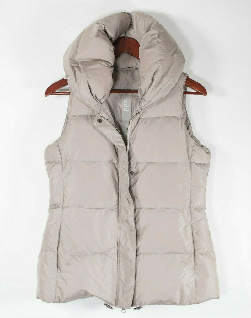 ADD Womens Size 4 Small Beige Vest Goose Down Feather Hooded Short Sleeveless
