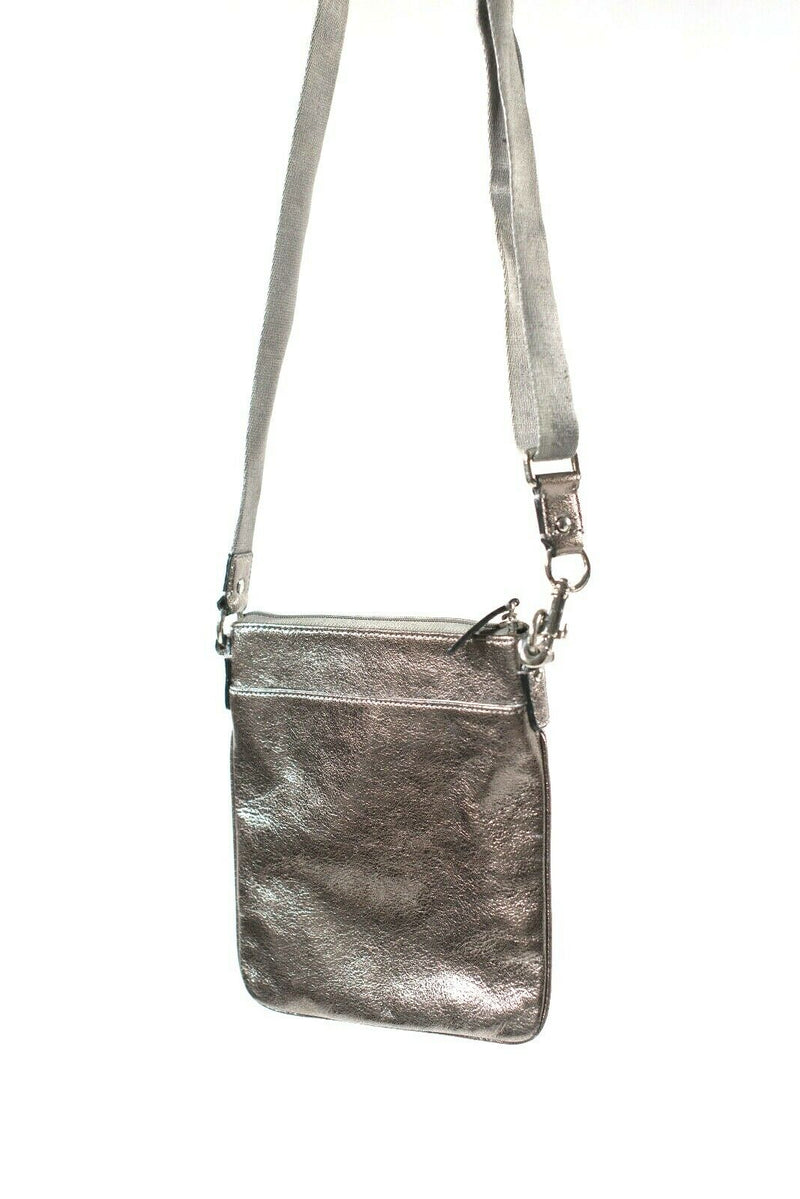 Coach Signature Womens Pewter Silver Grey Crossbody Bag Metallic Leather Purse
