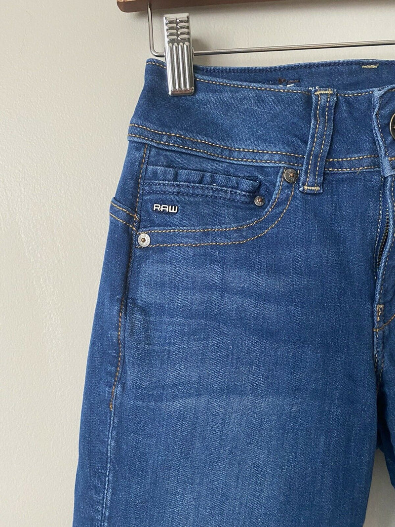 G-STAR RAW Women's Size 26 Blue Jeans Midge Mid Saddle Straight Stretch Denim