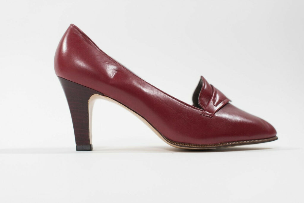 Bally Womens Size 5 Red Pumps Vintage High Heels Pointed Toe Leather Shoes NWOT