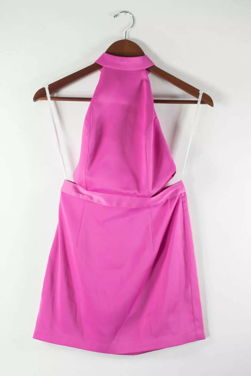 Revolve NBD Womens XS Neon Pink Dress Sleeveless A-Line Backless Halter Mini NWT