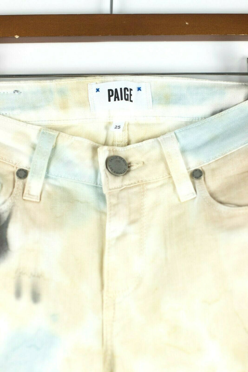 Paige Womens Size 25 Yellow White Denim Pants Verdugo Ultra Skinny Tie Jeans