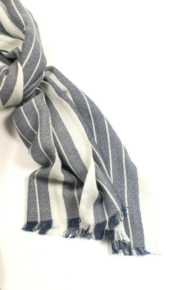 Eileen Fisher Womens White Blue Scarf Stripe Fringe Shawl Cotton Blend Knit