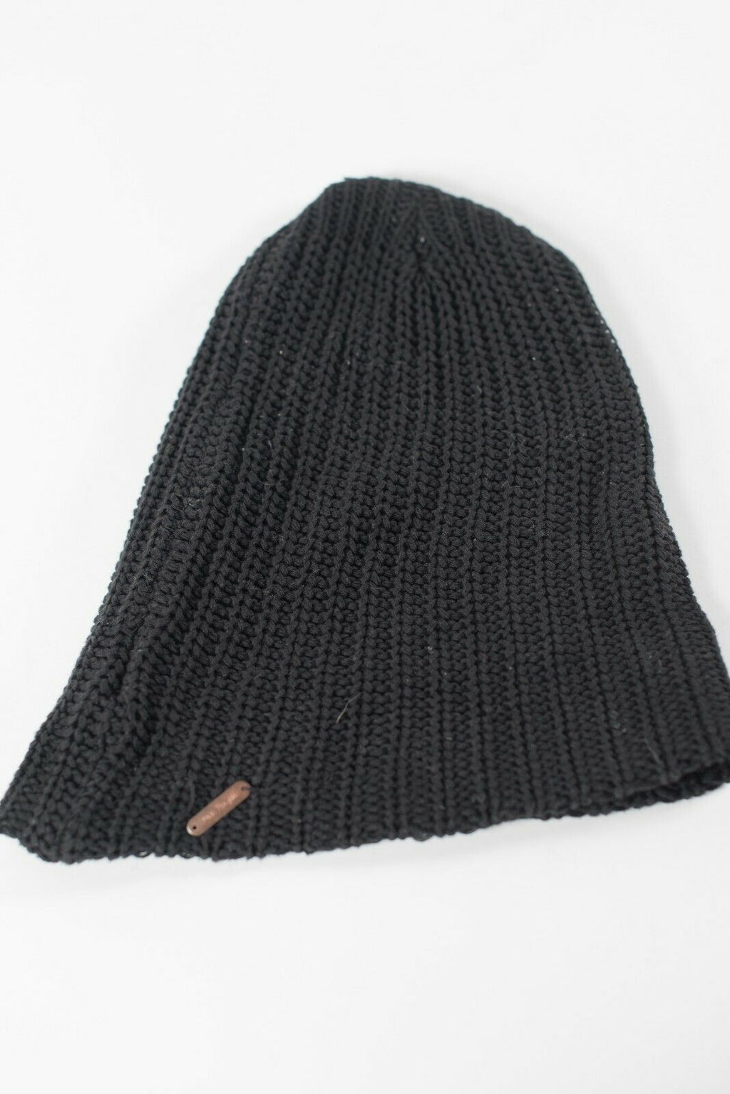 Free People Women's One Size Black Beanie Hat Ribbed Cotton Knit Logo Toque Hat