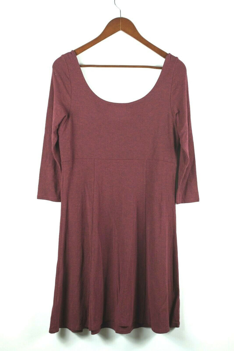Eileen Fisher Womens Small Burgundy Red Dress Solid Stretch Jersey
