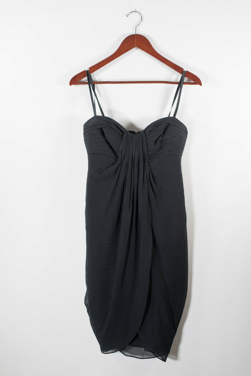 BCBG MaxAzria Womens Size 2 XS Black Dress Ruched Strapless Layered Cocktail