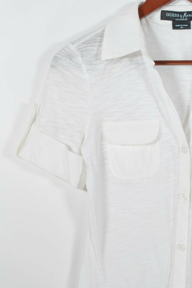 Guess Marciano Womens Size XS White Button Up Blouse Short Sleeve Cotton Shirt
