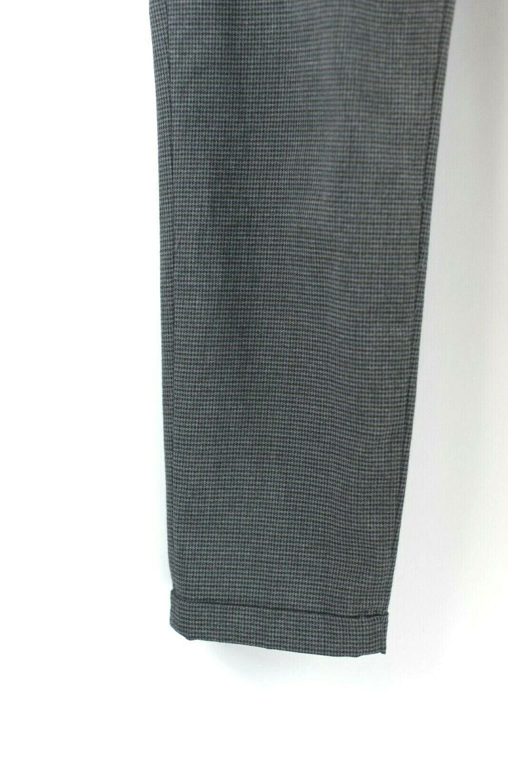Zara Basic Womens Size 6 Grey Pants Plaid Check Cuffed Crop Skinny Slim Trousers