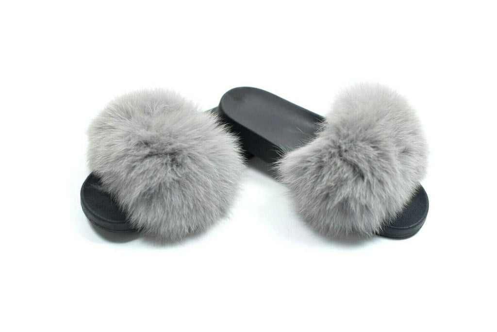 Womens Size 9 Grey Fox Fur Slides Shoes Sandals Fluffy Furry Slipper Luxury