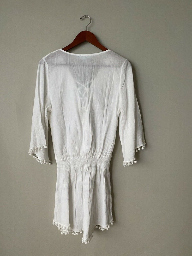 Melissa Odabash Women's Small White Kiah Dress Cotton Embroidered Lace Up NWT