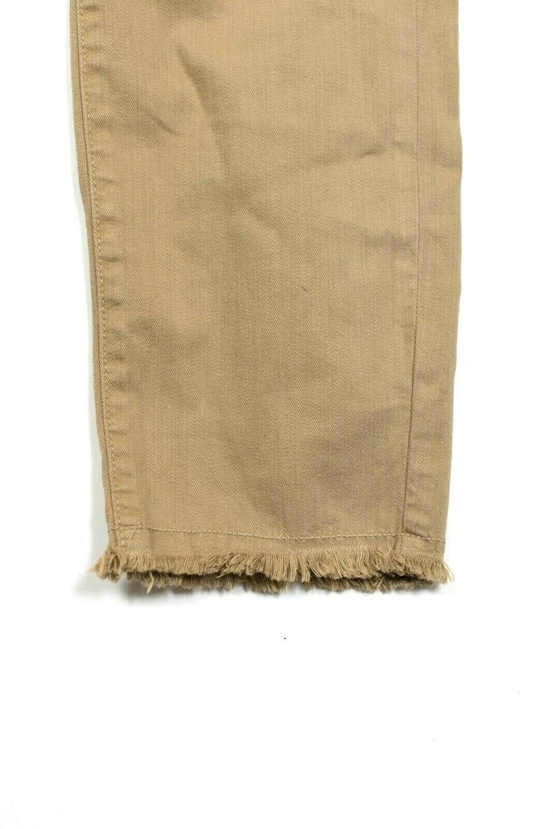 NYDJ Womens Size 14 P Tan Jeans Alina Denim Mid-Rise Ankle Fray Jeans Trousers