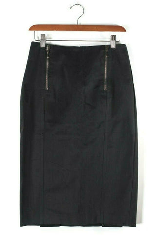 Ocean West Womens Medium 12 L Black Skirt Leather Fringe Vintage Back Slit Mini