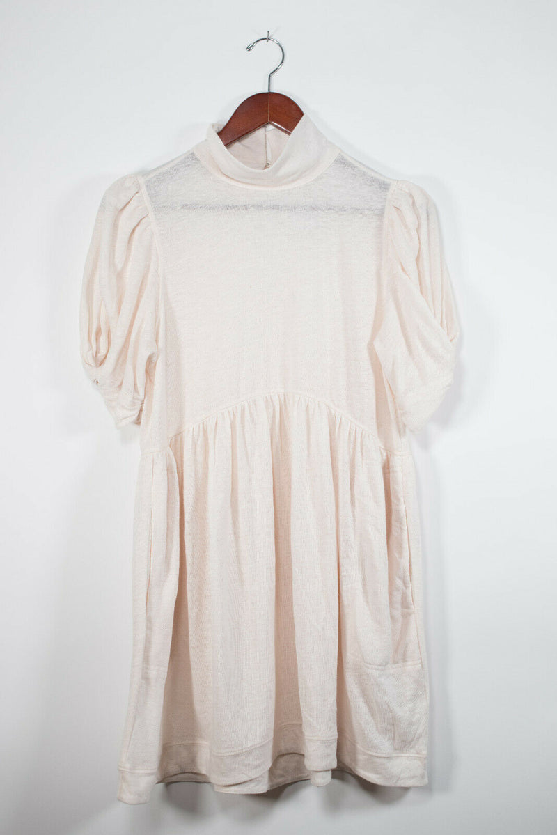 Free People XS Light Pink Puff Sleeve Dress NWT