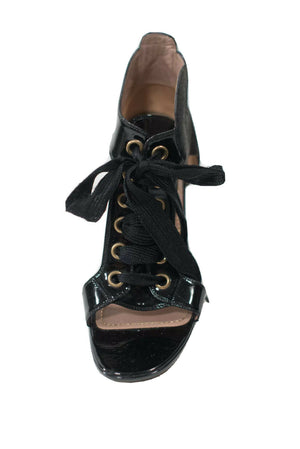 Yves Saint Laurent YSL Womens Size 36 Black Sandals Lace Up Patent Leather Pump
