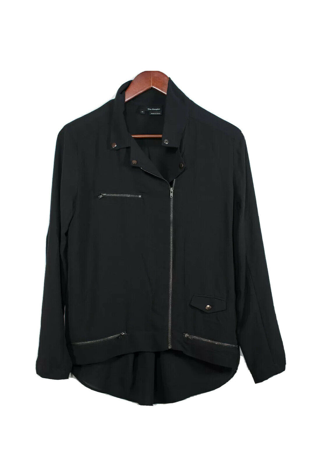 The Kooples Medium Black Crepe Bomber Jacket