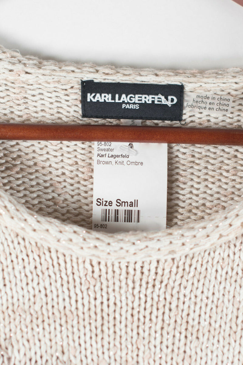 Karl Lagerfeld Womens Small Beige Brown Sweater Pullover Open Knit Shirt Top