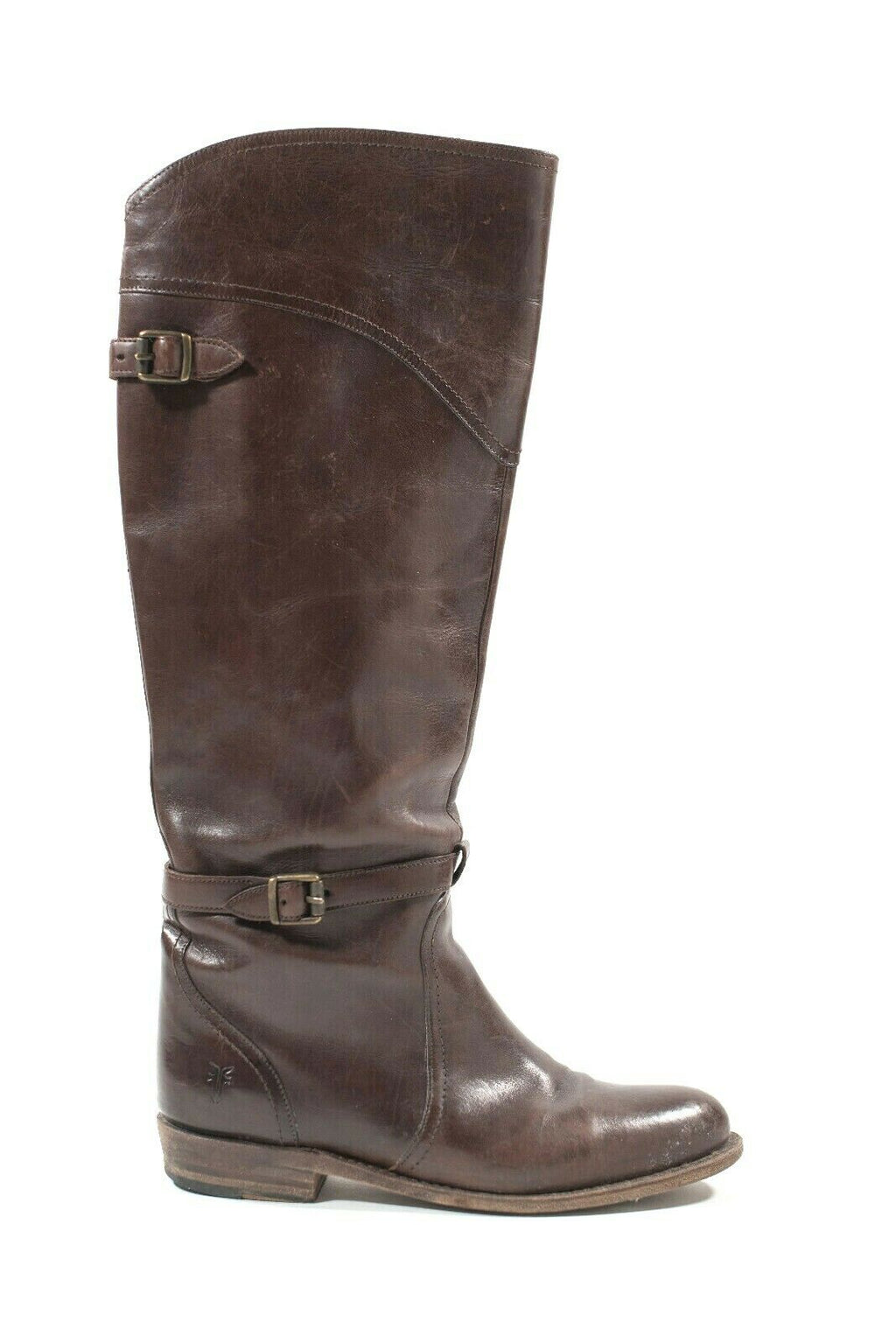 Frye Womens Size 7 M Brown Boots Tall Leather Riding Boots Ankle Strap Low Heel