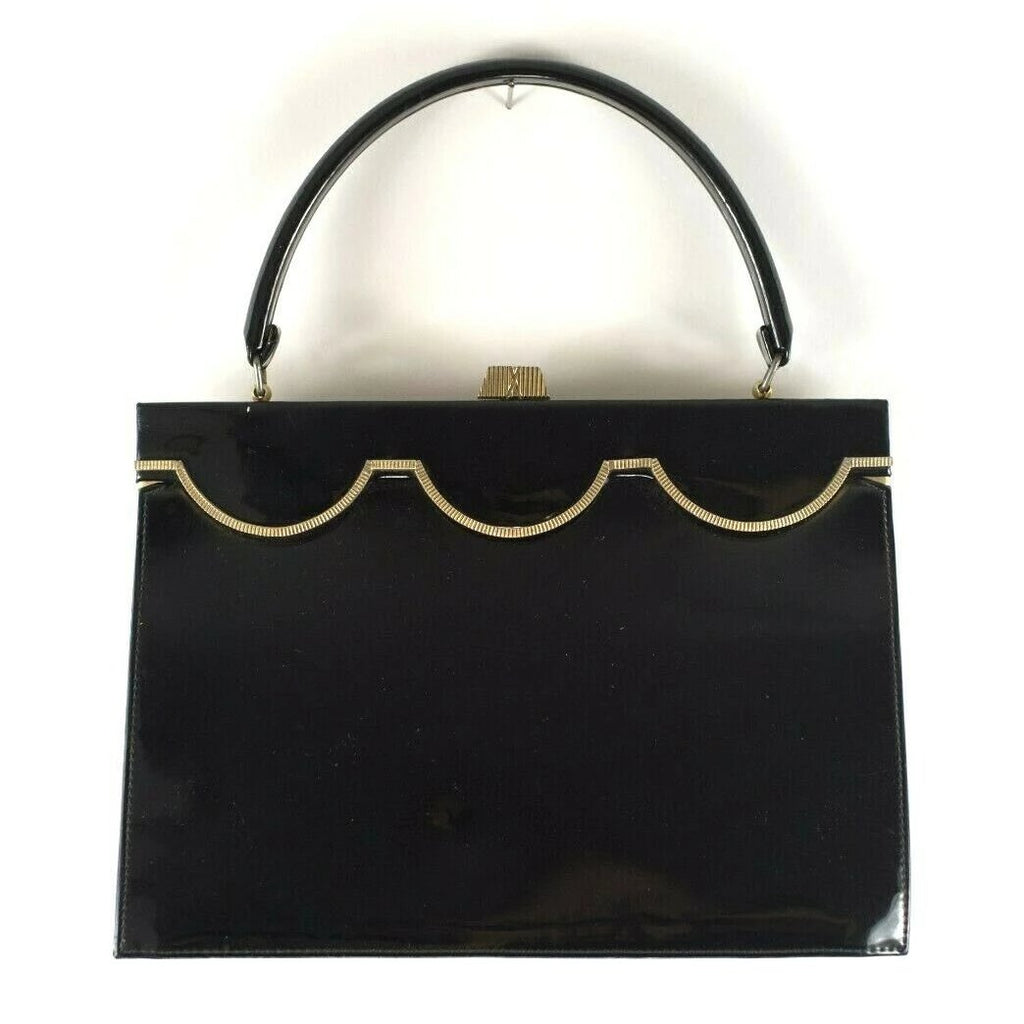 Dianne Royals Collection Womens Black Handbag Vintage Patent Top Handle Purse