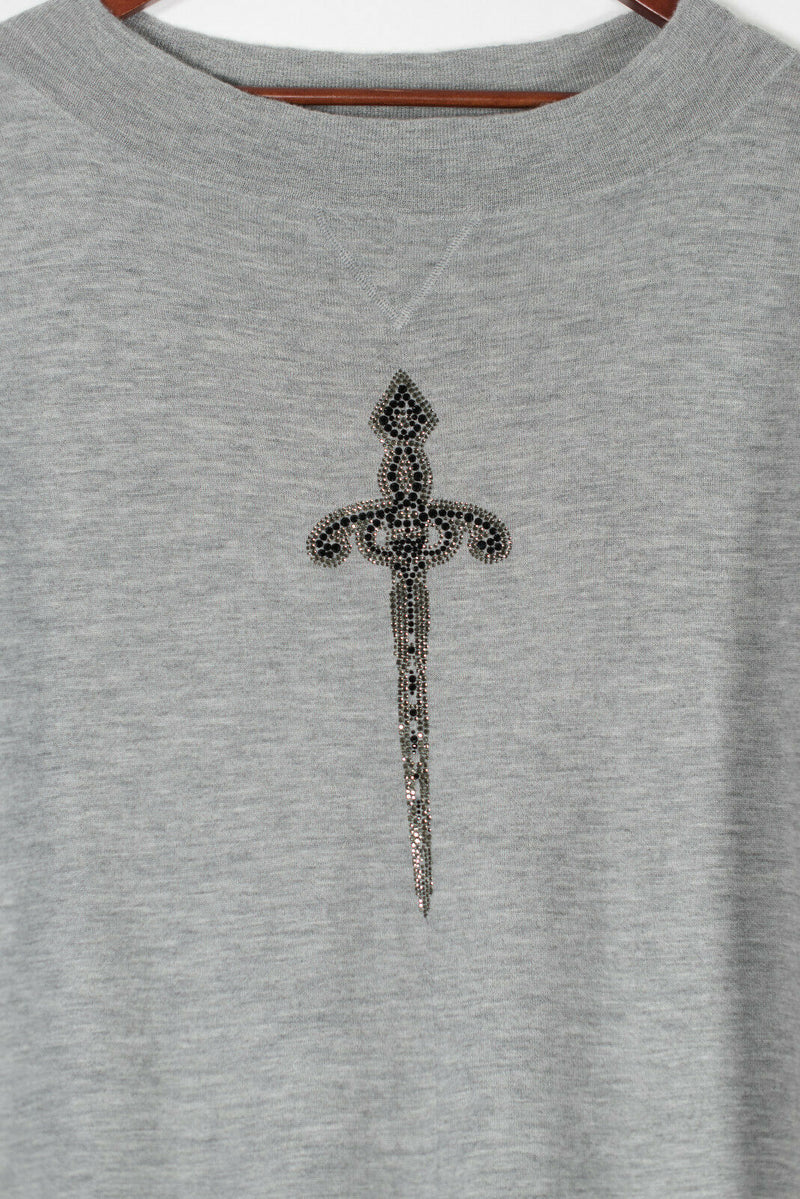 Thomas Wylde Size Small Grey Dagger Embroidered Sweater