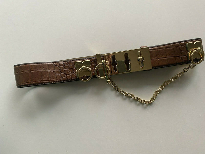 BCBG Maxazria Women's Size Small Brown Waist Belt Leather Croc Gold Chains