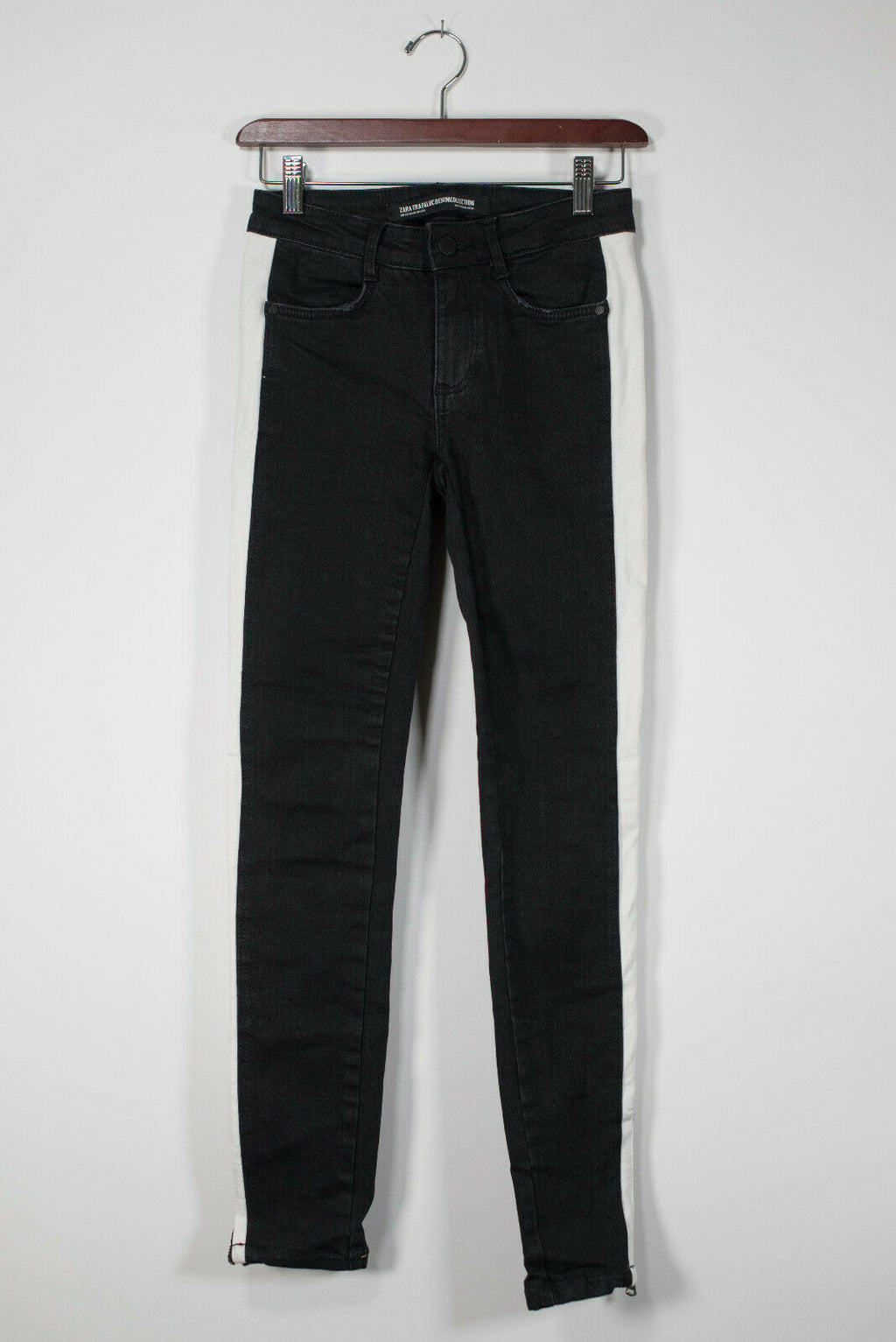 Zara Womens Size 00 XXS Black Skinny Jeans White Stripe Skinny 5 Pocket Denim