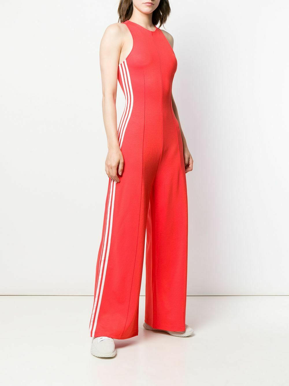 Adidas Originals Womens Small Red Orange Tailored Jumpsuit Wide Leg Tank Top NWT