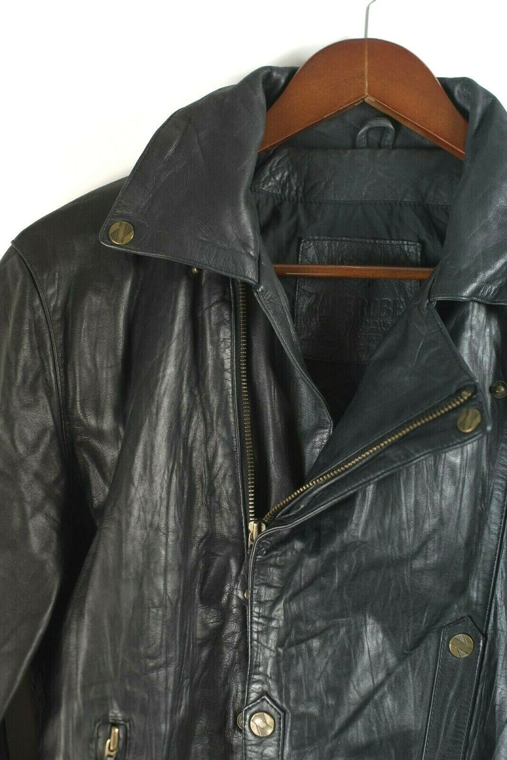 Zanerobe Womens Size 10 Large Black Jacket Leather Bomber Moto Slouchy Coat