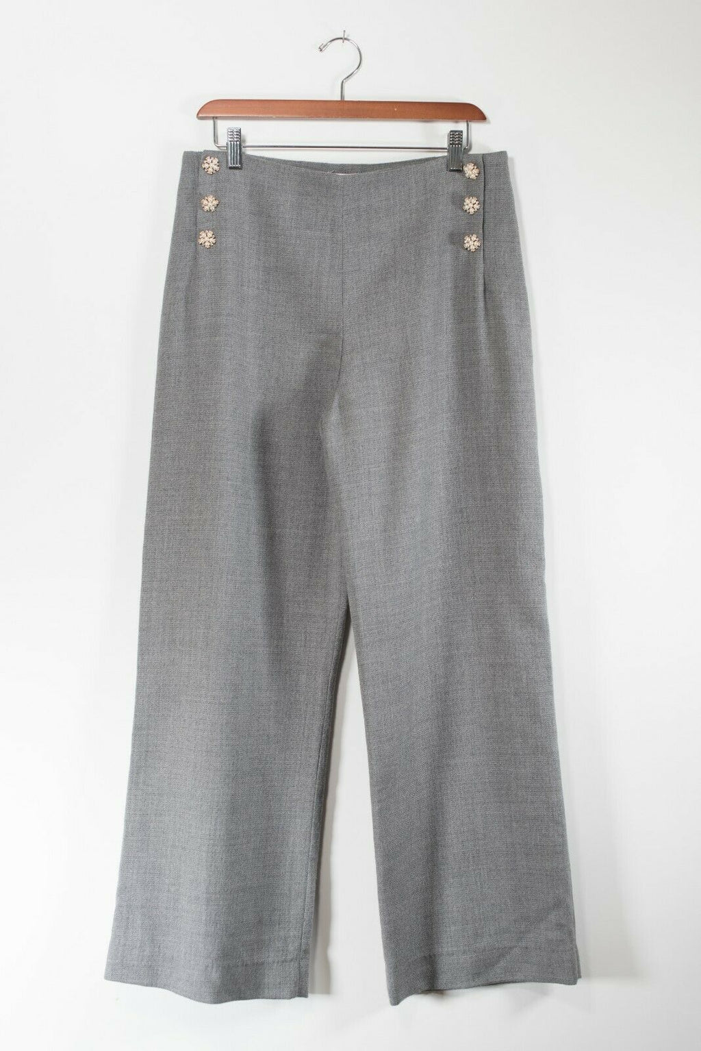 Edward Achour Womens Size 42 Grey Trousers Wide Leg Pants Wool Pearl Button Side