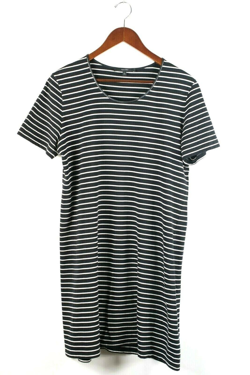 Gucci Womens Large Black White Dress Striped Cotton GG Short Sleeve Shirt Tunic