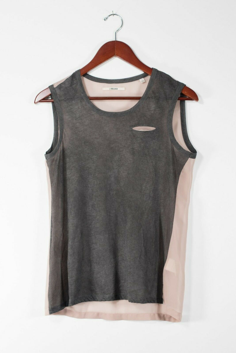 J Brand Women's Small Grey Pink Tank Top Sleeveless Front Pocket Color Block Tee
