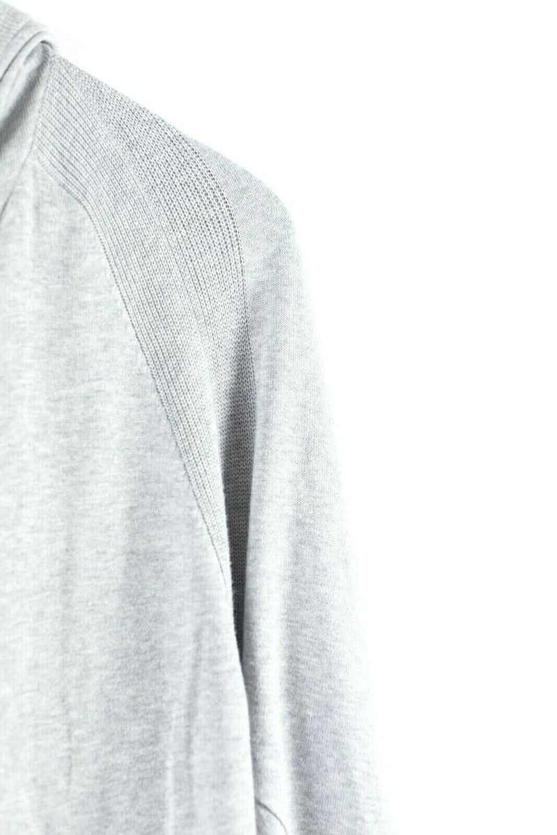 Repeat Womens Small Medium Gray Hoodie Sweater Jacket Knit Zip Front Pockets Top
