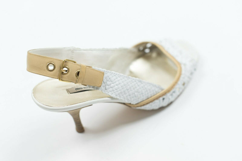 Miu Miu Womens Size 7 White Slingbacks Leather Pumps Shoes Sandals Open Toe Auth