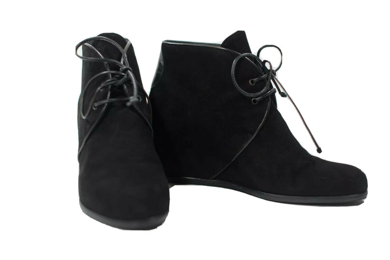 Stuart Weitzman Womens 8.5 Black Ankle Boots Suede Leather Lace Up Wedge Shoes