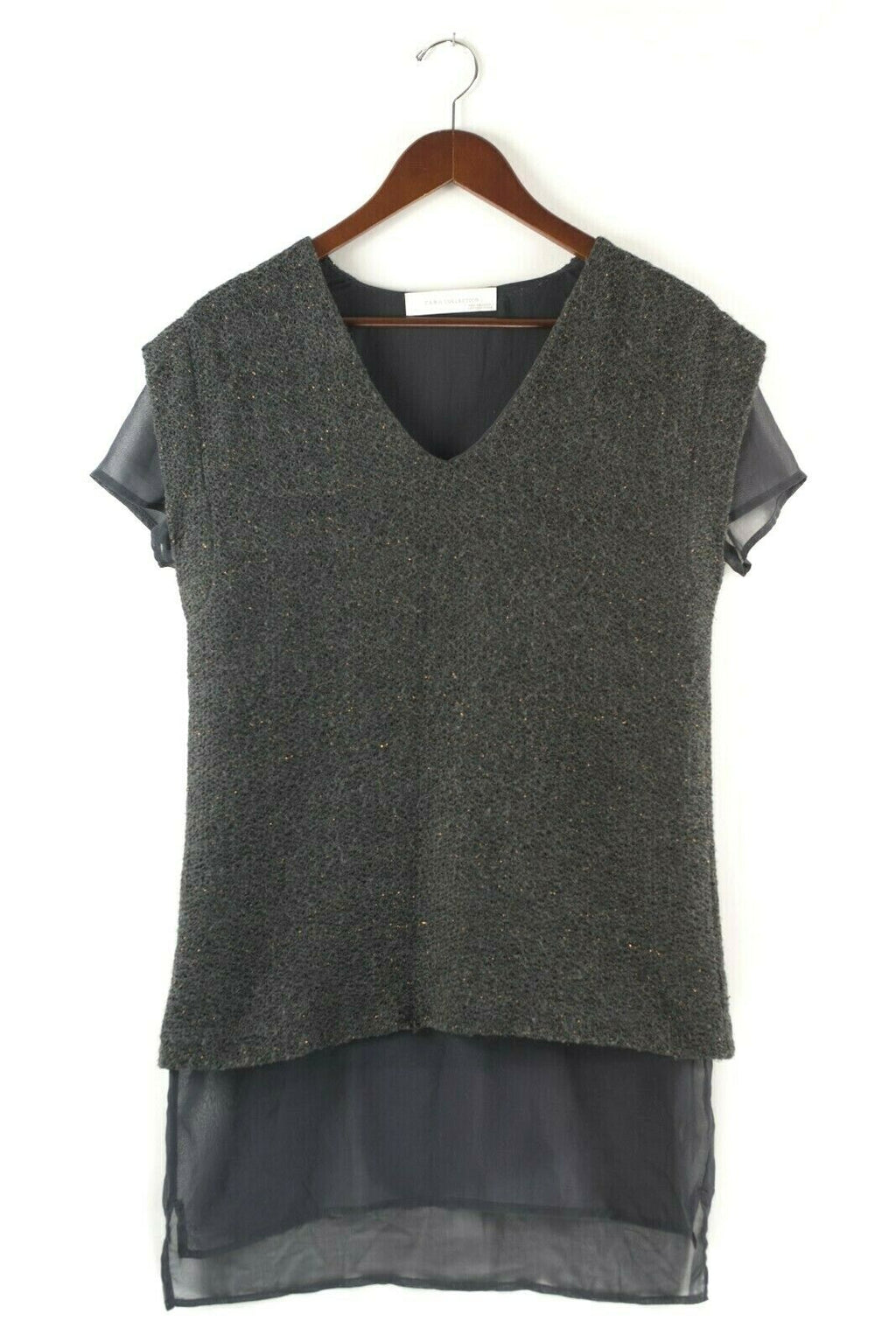 Zara Womans Medium Grey Shirt Layered Metallic Gold Knit Sweater Top Tunic Shirt
