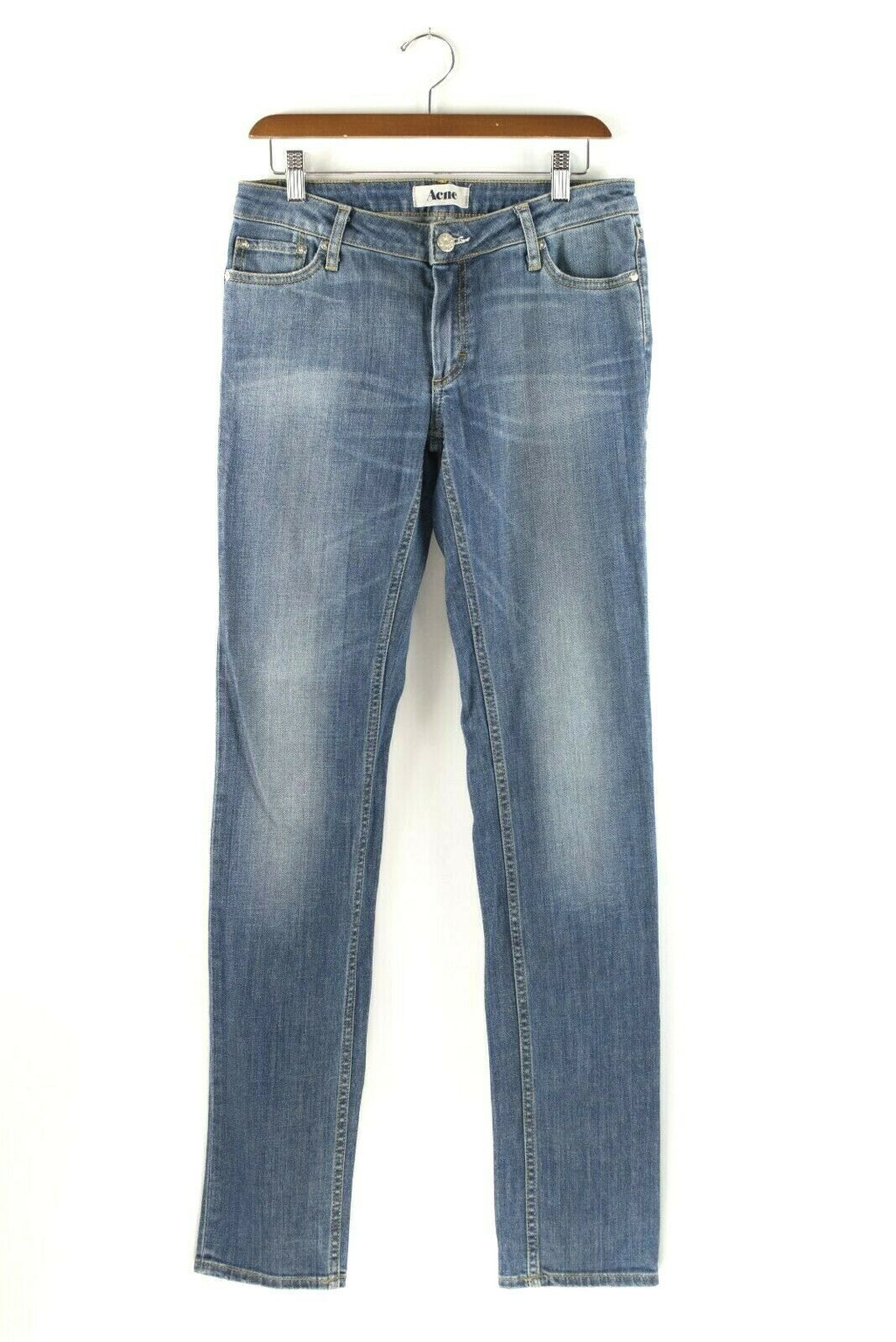 Acne Studios Womens Size 31 Blue Jeans Skinny Slim Faded Denim Straight Bootcut