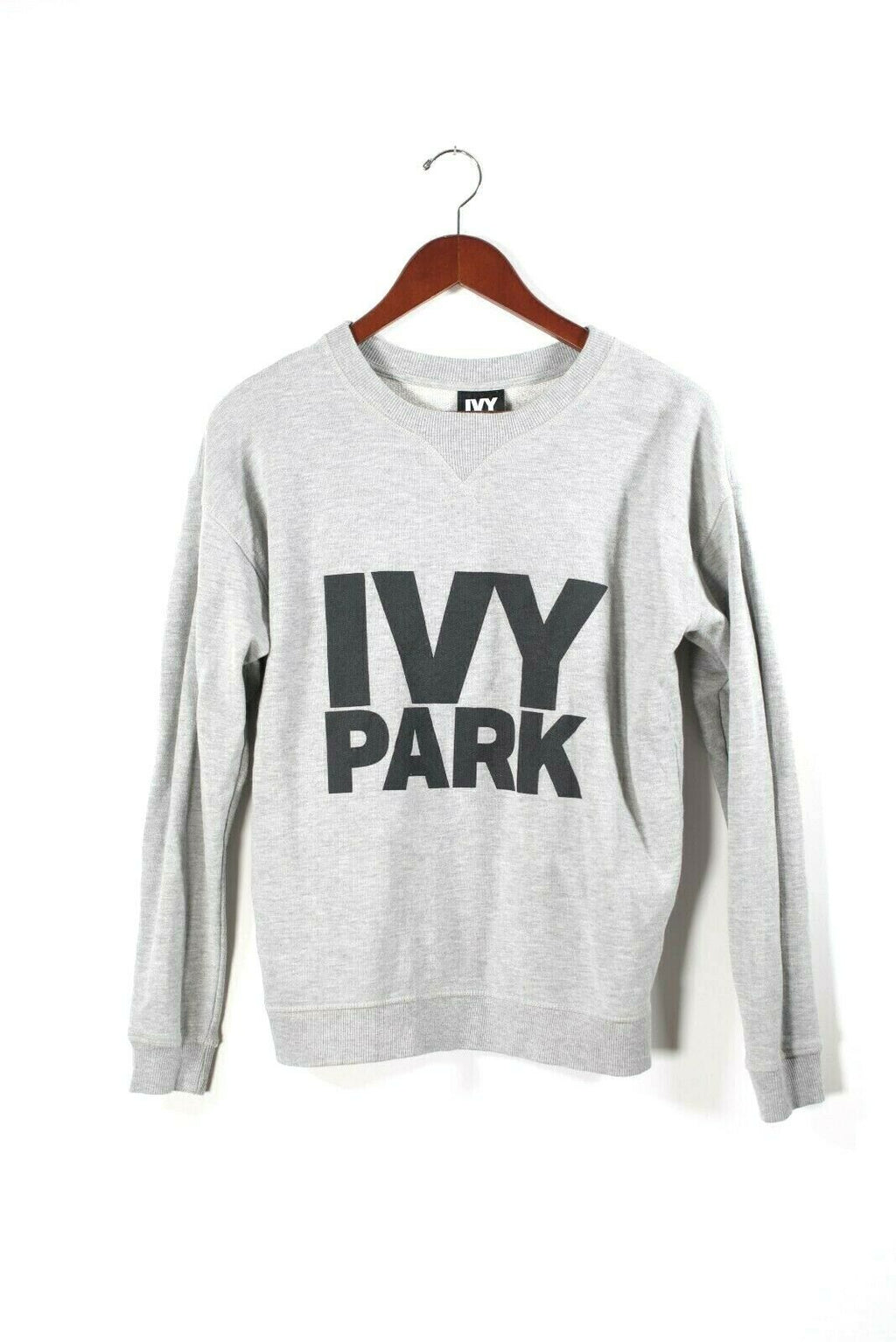 Ivy Park Womens Size Small Gray Sweatshirt Pullover Logo Graphic Sweater Shirt