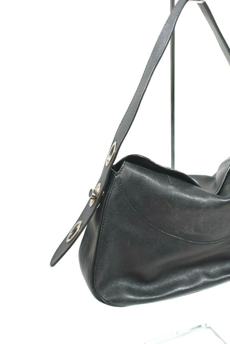 Tods Womens Black Handbag Authentic Leather Top Handle Tote Purse Toggle Bag