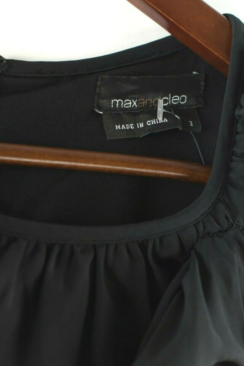 Max And Cleo Womens Size 2 Extra Small Black Dress Ruched Pleated A Line Gown