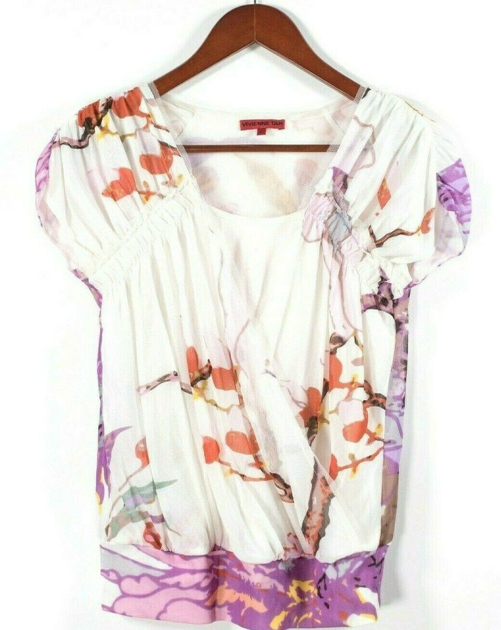 Vivian Tam Womens Petite Small White Blouse Mesh Floral Print Shirt Stretch Top