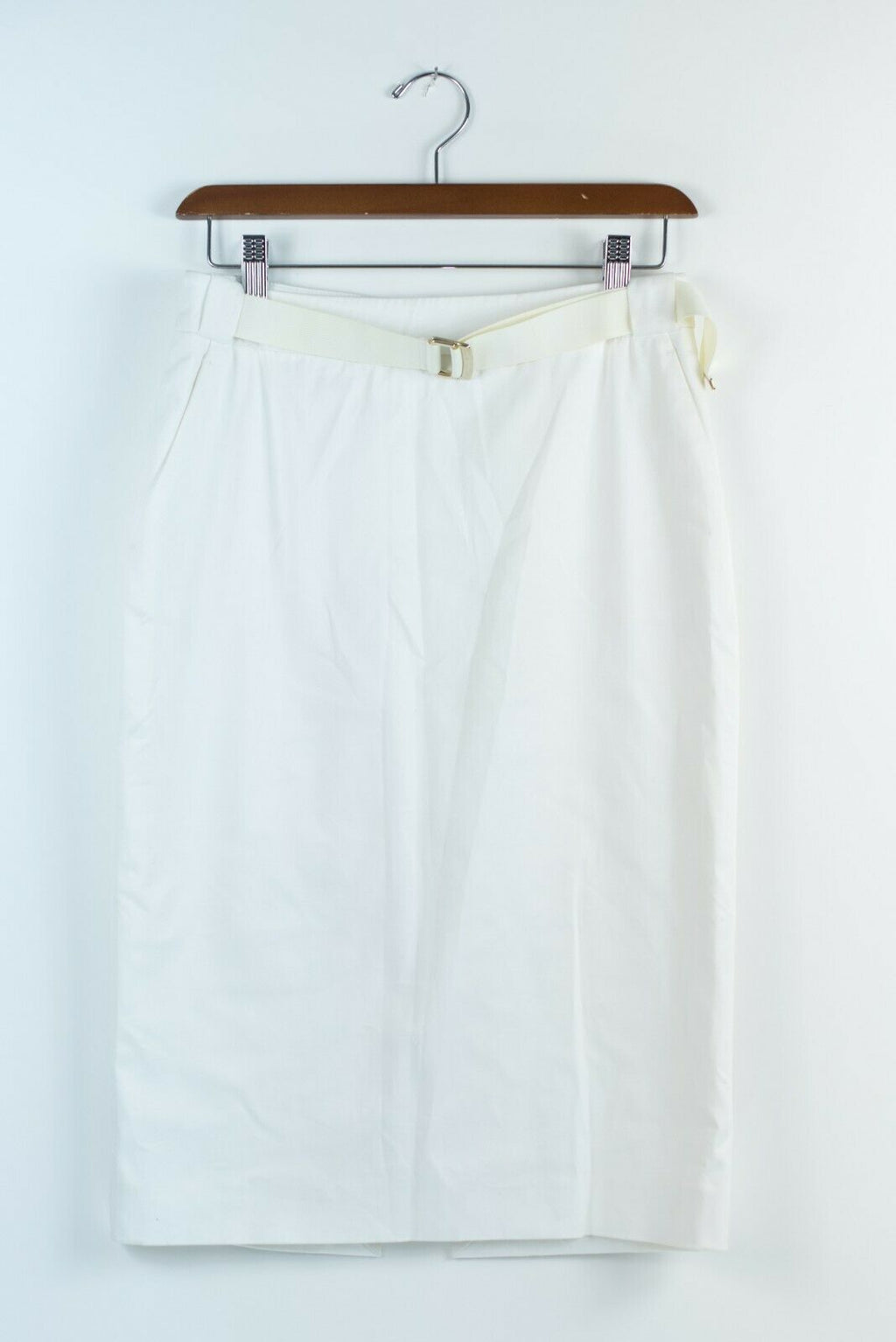 Wolford Womens Size 34 XS White Skirt Belted Stretch Cotton Pencil Slit Midi
