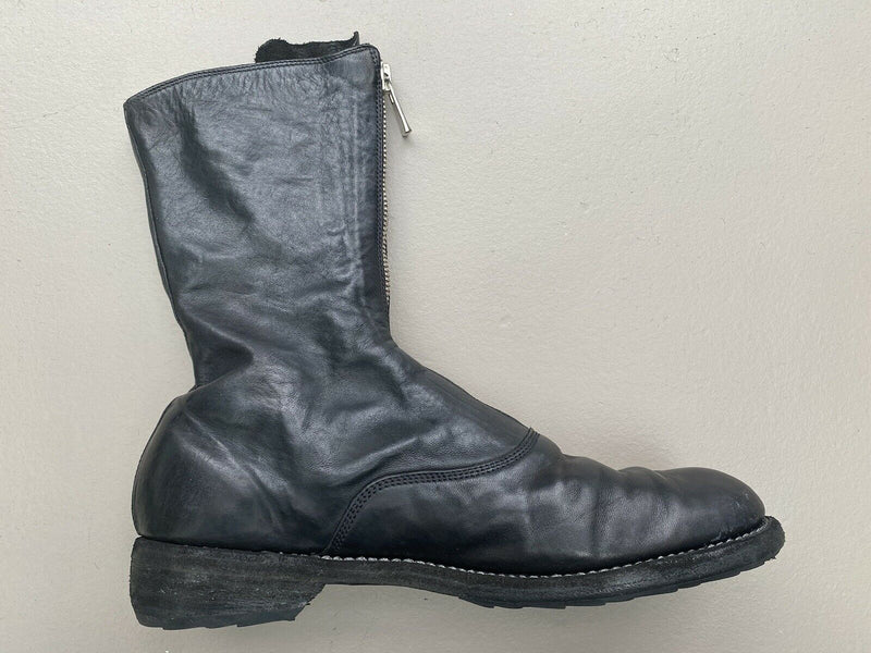 Guidi Women's Size 41 Black Front Zip Boots Soft Leather $2936